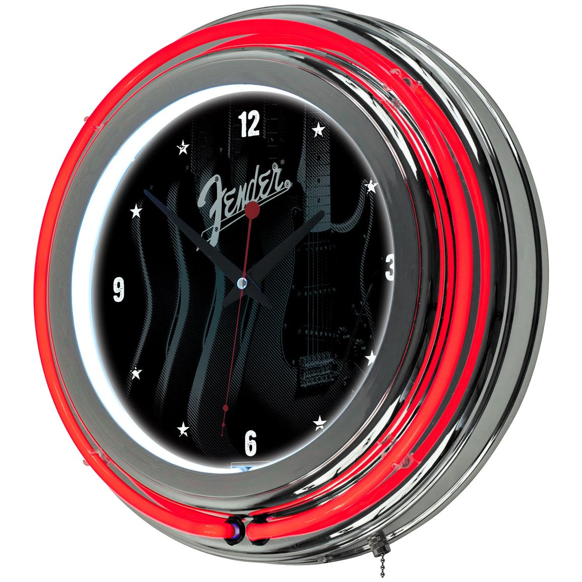Fender® Stratocasters Galore Double Ring Neon Clock