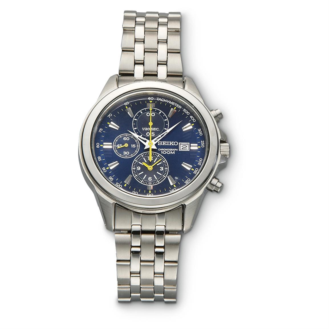 SEIKO® Chronograph Watch with Blue Face