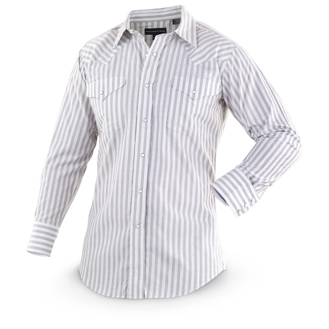 2-Pk. of Panhandle Slim® Metallic-striped Long-sleeved Western Shirts, 1 Gray