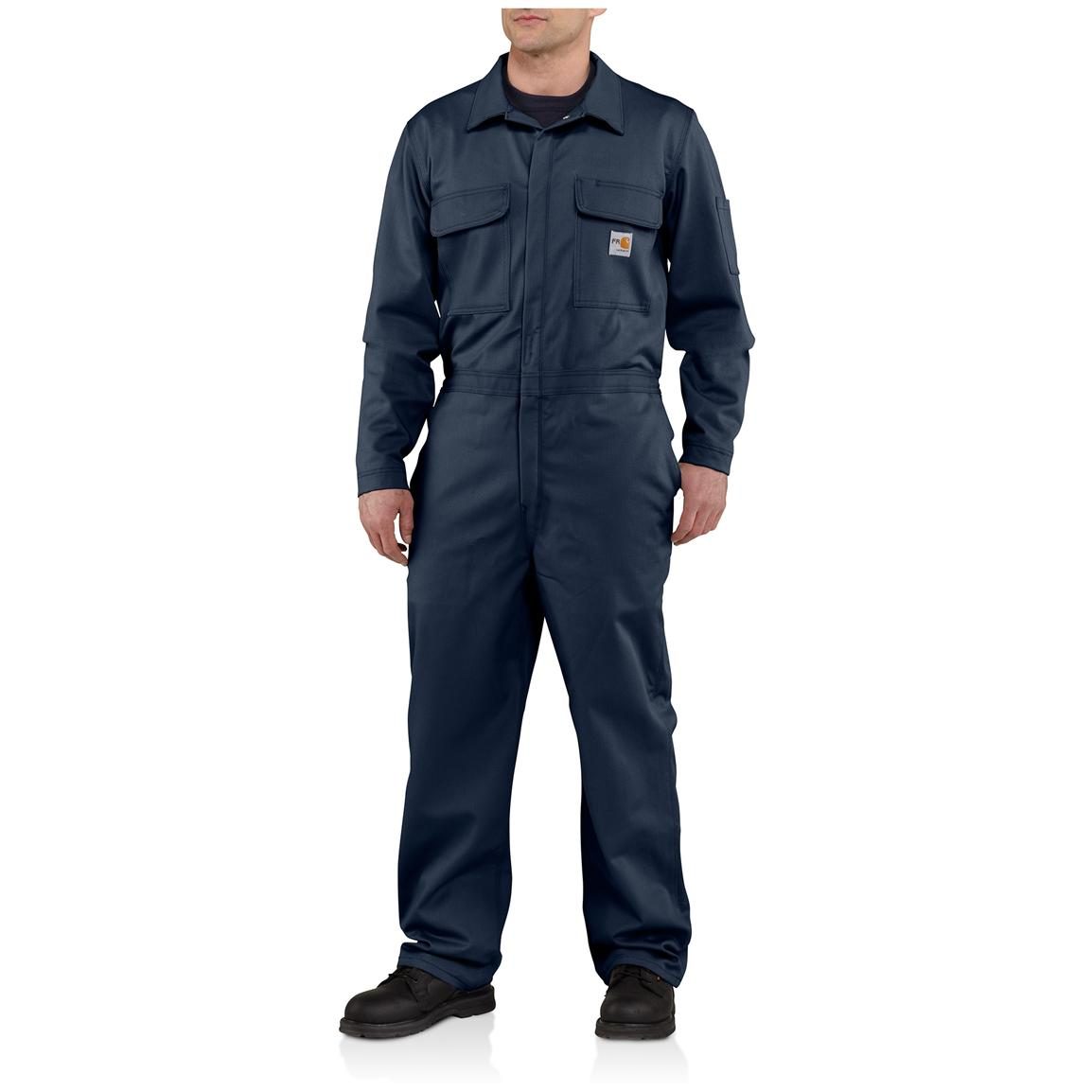 Carhartt® Flame-resistant Classic Twill Coveralls, Dark Navy