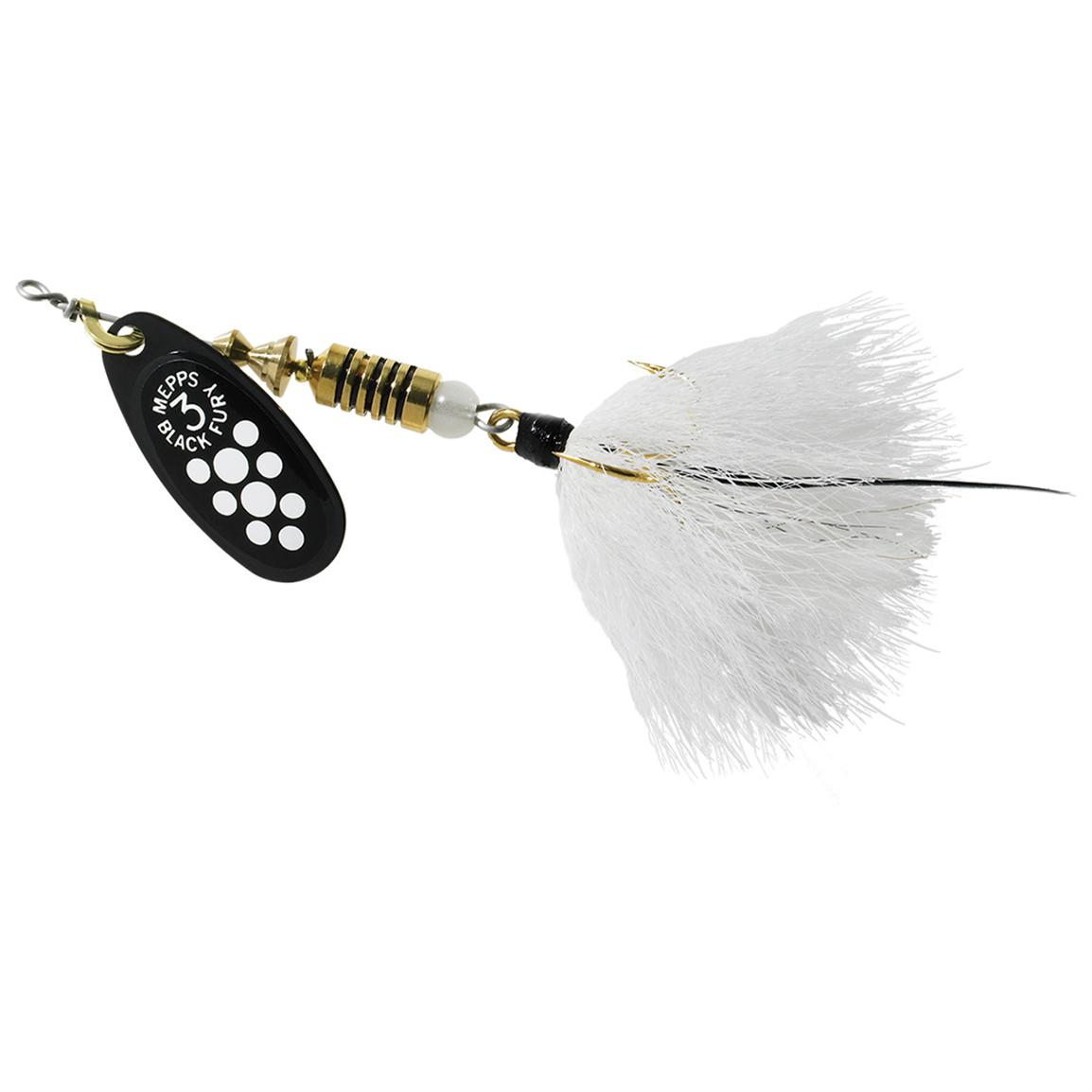 Mepps® Black Fury® Dressed Spinnerbait, White Dot Blade-White Tail