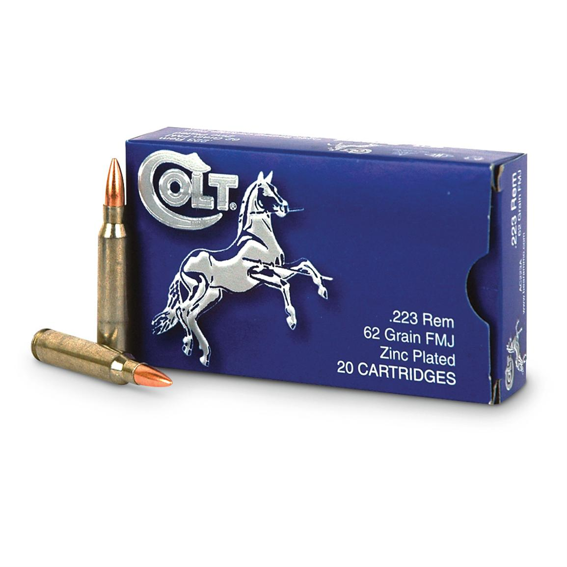 20 rounds Colt .223 Rem. 62 Grain FMJ Zinc-plated steel case Ammo