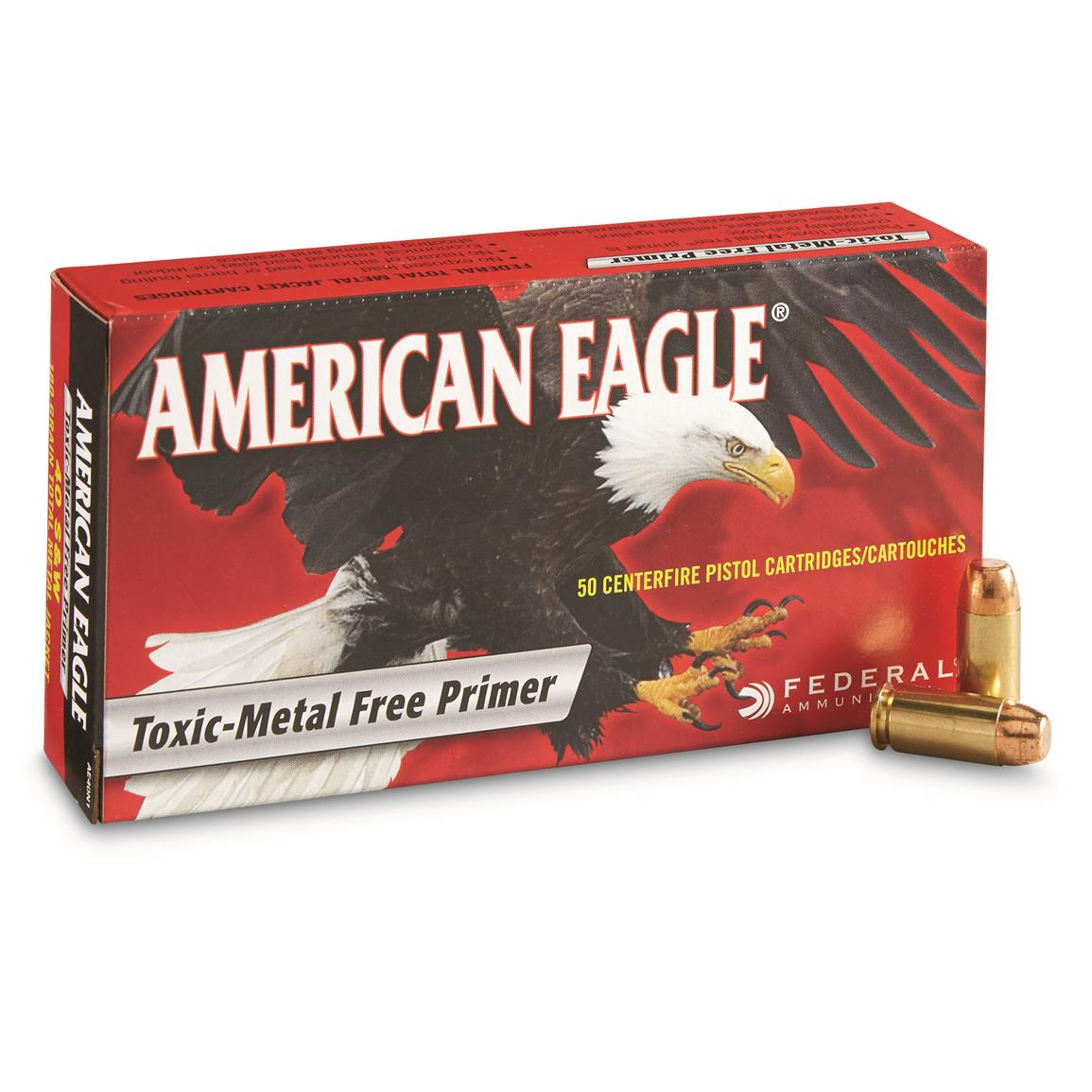 Federal American Eagle Pistol, .40 S&W, TMJ, 180 Grain, 50 Rounds