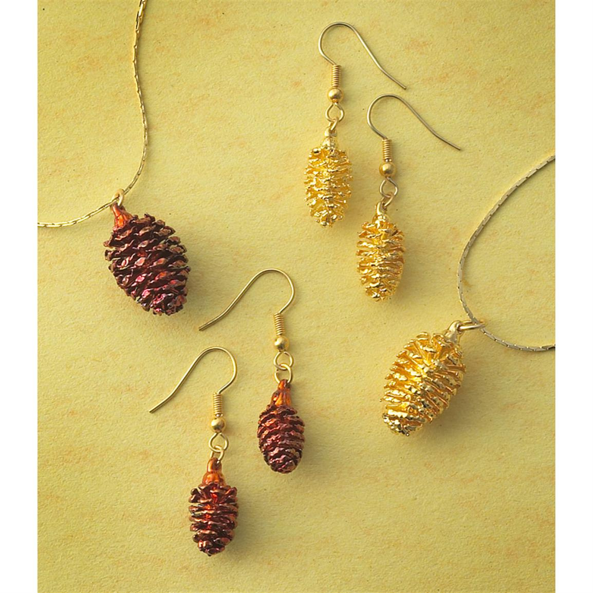 The Rose Lady 3-Pc. Pine Cone Jewelry Set