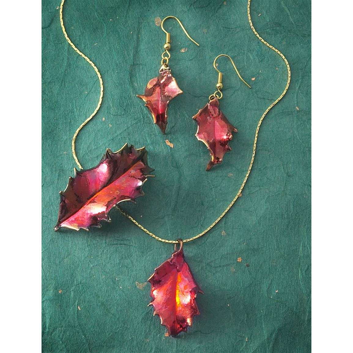 The Rose Lady 4-Pc. Real Holly Jewelry Set, Copper