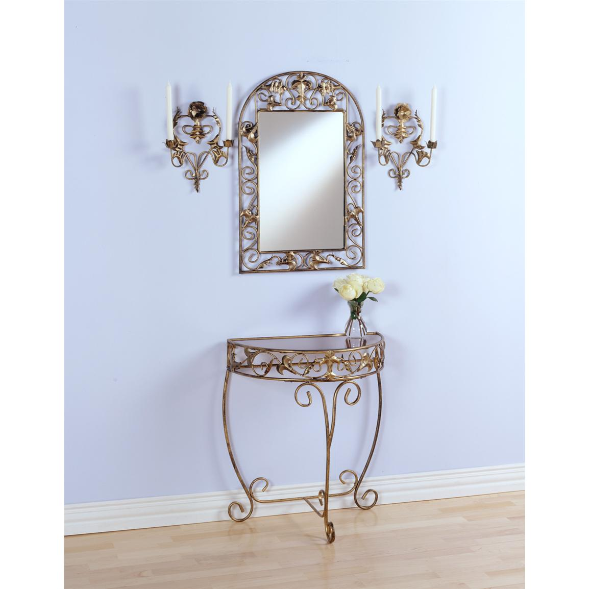 Mirror Sconces Wall Decor : 4-Pc. Gold Console / Mirror / Sconce Set - 48029, Wall Art at Sportsman s Guide