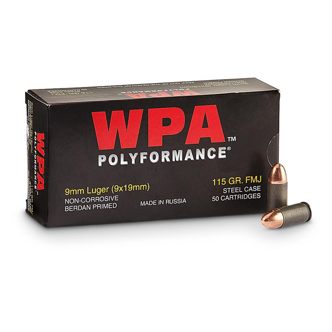 WPA Polyformance, 9mm Luger, FMJBT, 115 Grain, 250 Rounds