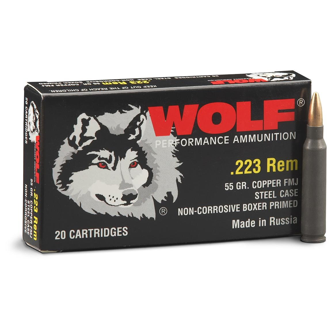 260 rounds Wolf® .223 55 Grain FMJ Ammo