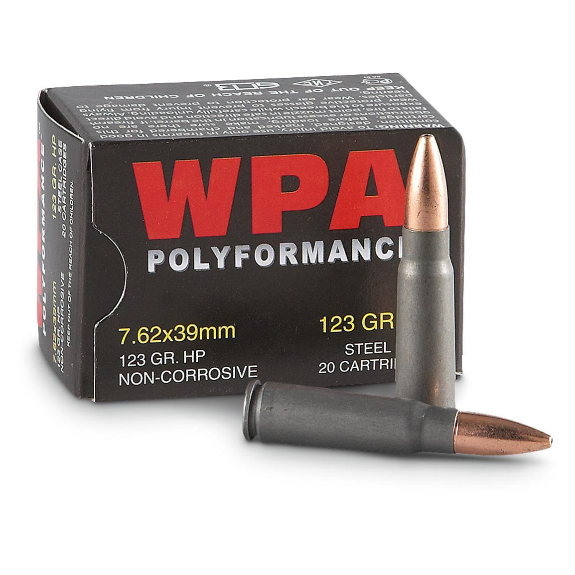 wolf wpa polyformance 7 62x39mm hp 123 grain 500 rounds 54048