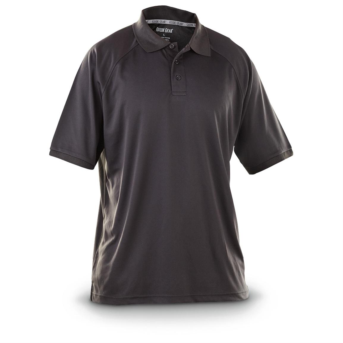 Guide Gear Men's Performance Short Sleeve Polo Shirt, Black