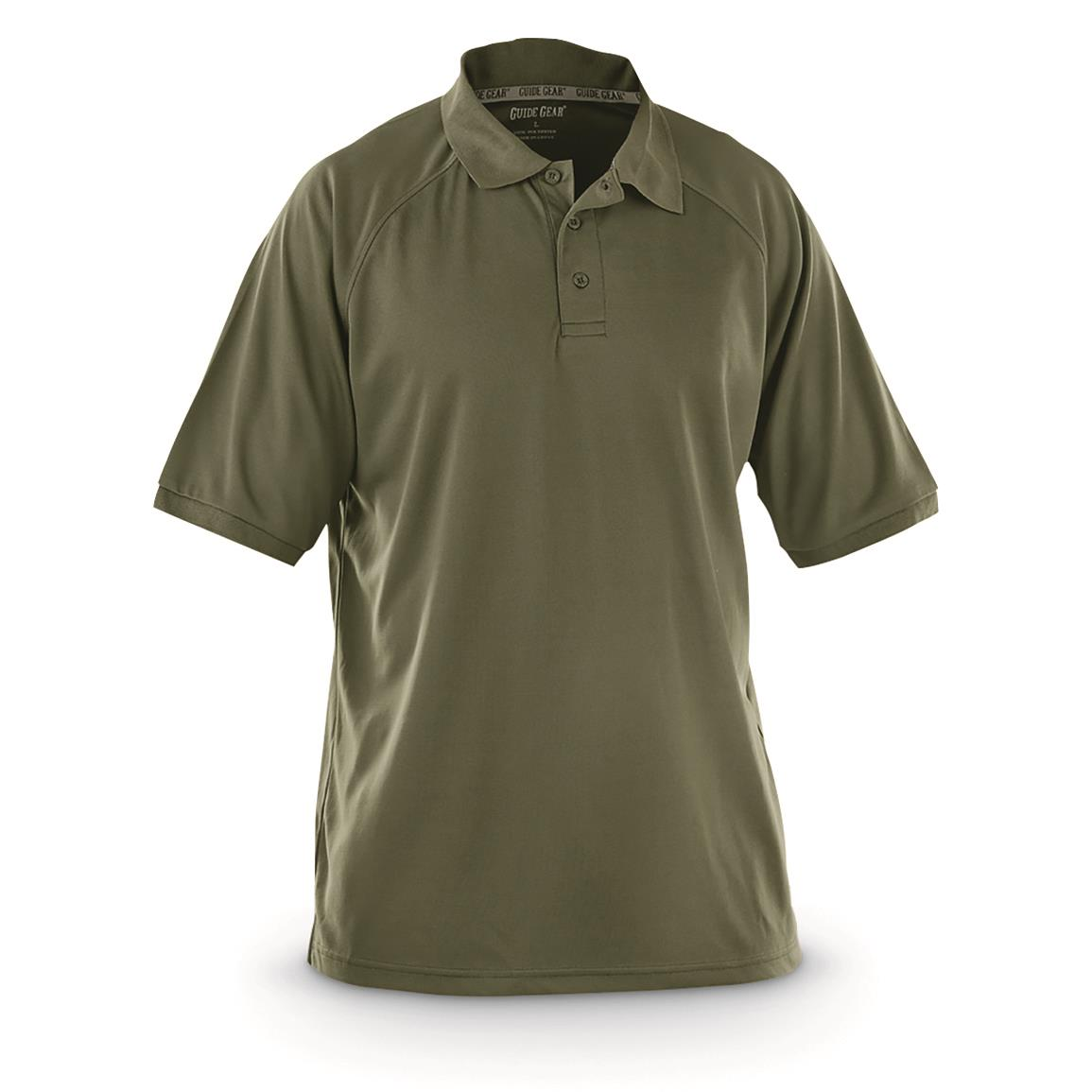 Guide Gear Men's Performance Short Sleeve Polo Shirt, Olive