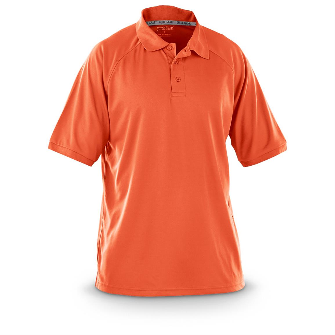 Guide Gear Men's Performance Short Sleeve Polo Shirt, Burnt Orange