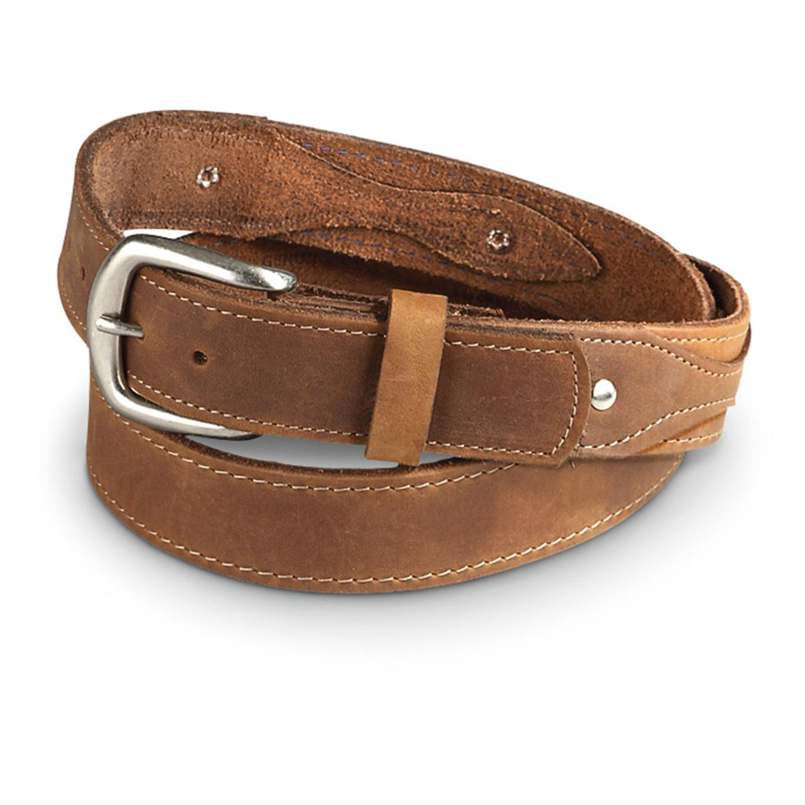 "Guide Gear Men's Ranger 1.5"" Leather Belt, Boot Tan"
