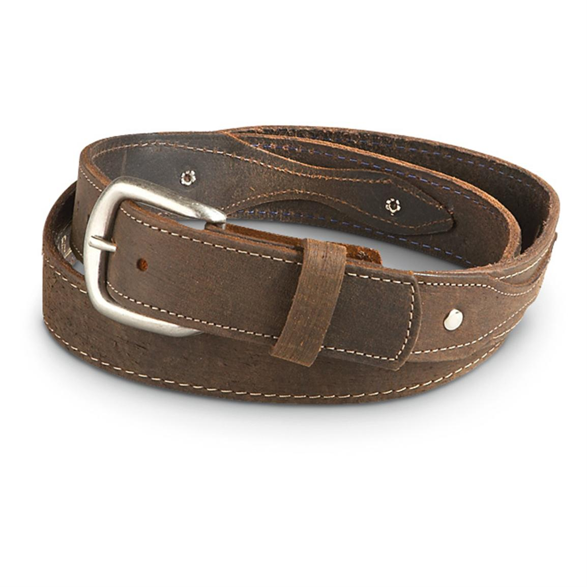 "Guide Gear Men's Ranger 1.5"" Leather Belt, Brown"