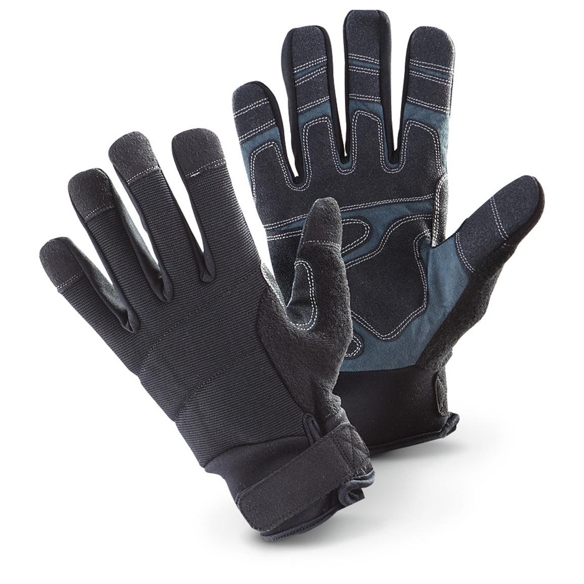 New USAF Military Surplus Suede Palm Work Gloves, Black