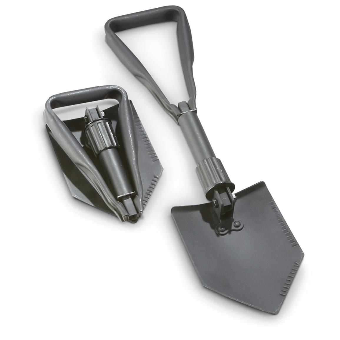 2 Military-spec Trifold Shovels, Black • Folds compactly for easy storage