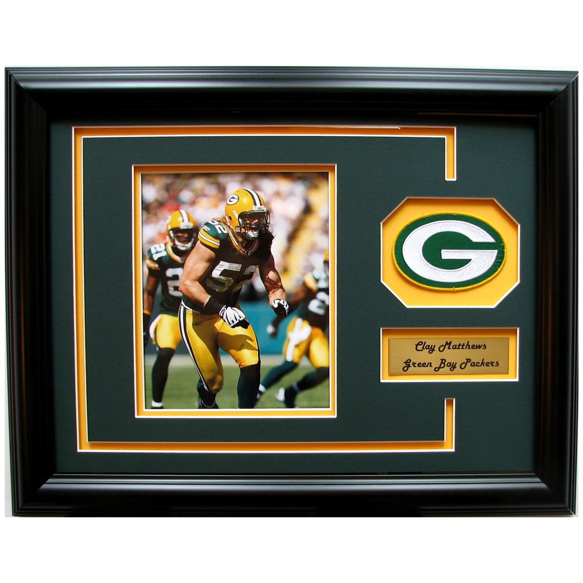 18x23 inch Clay Matthews Framed Photo with Team Patch by CGI Sports Memories™