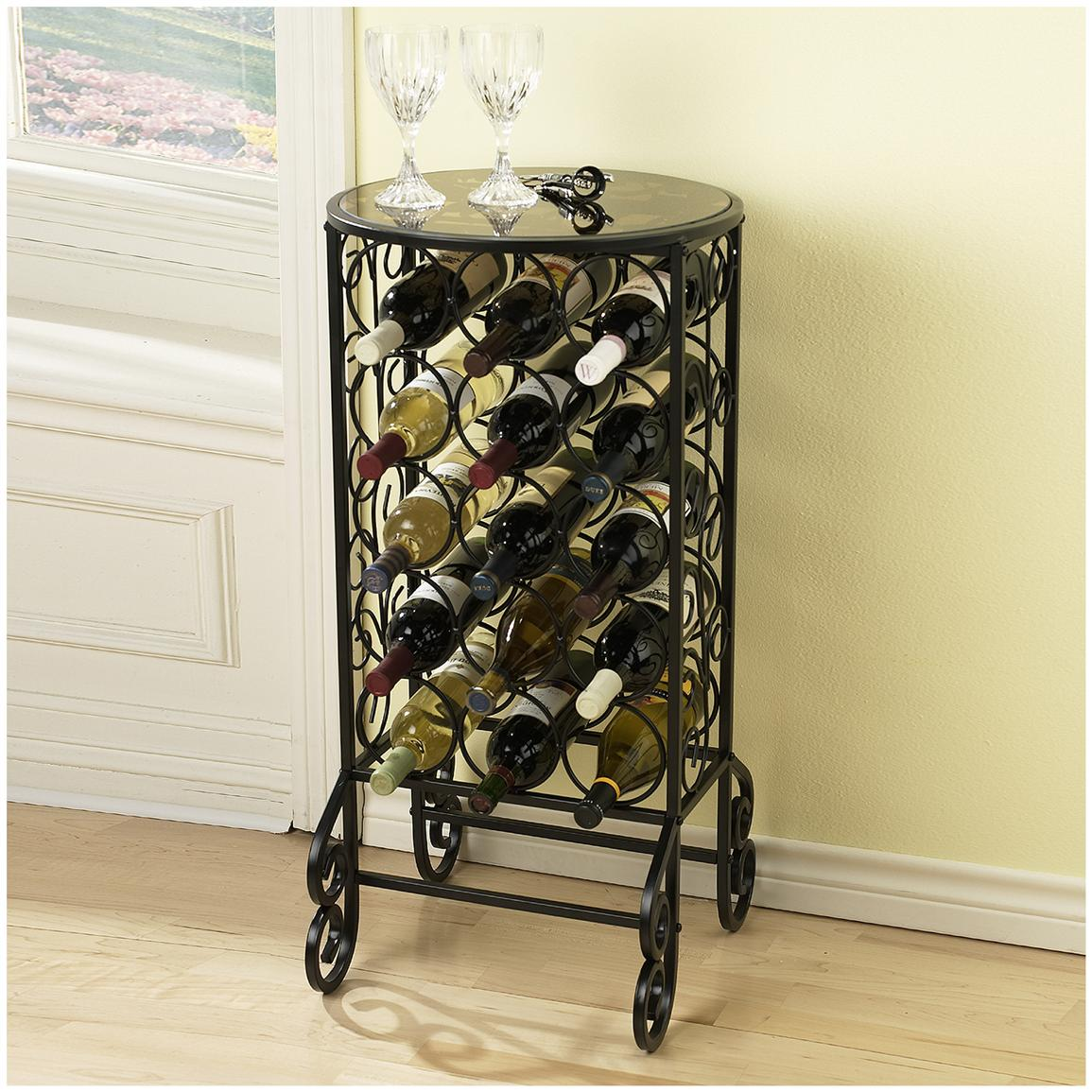 Scroll Iron Glass Top Wine Table