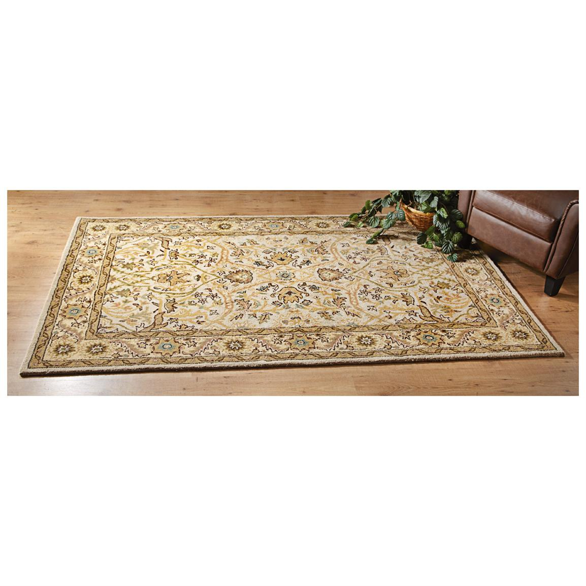 Wool Rug, Ivory / Gold