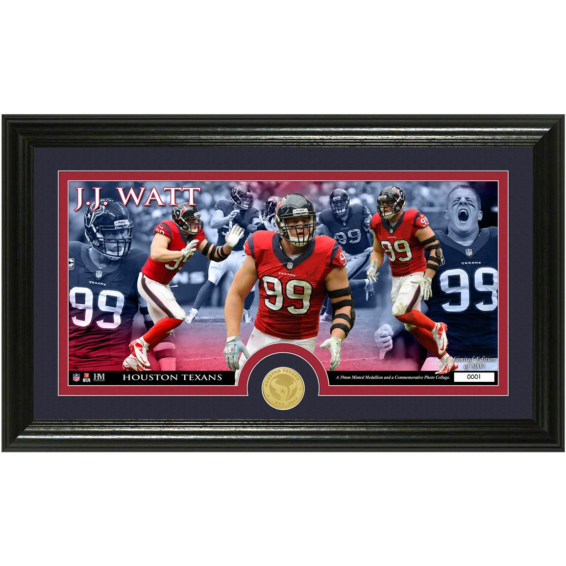 JJ Watt Bronze Coin Panoramic Photo Mint from The Highland Mint