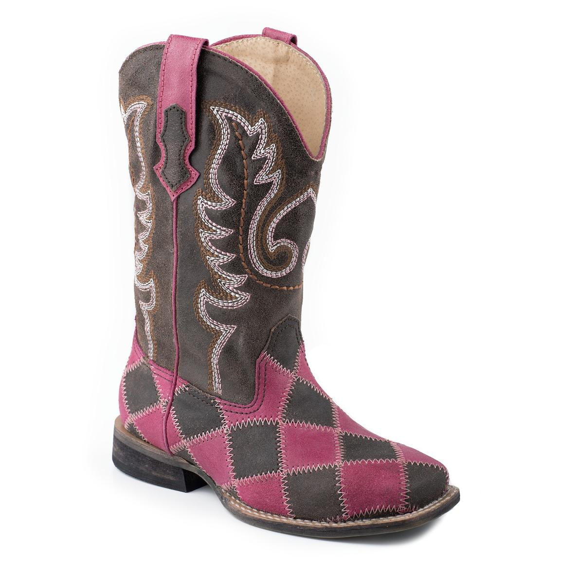 Roper® Kids' Patchwork Cowgirl Boot, Brown