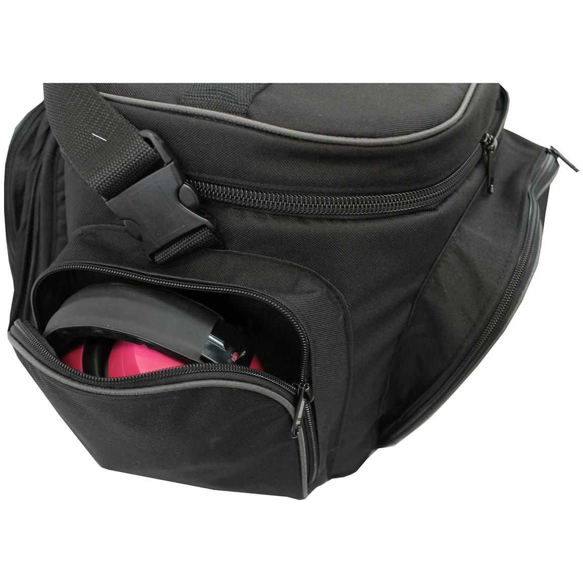 Side pockets hold two sets of hearing protection