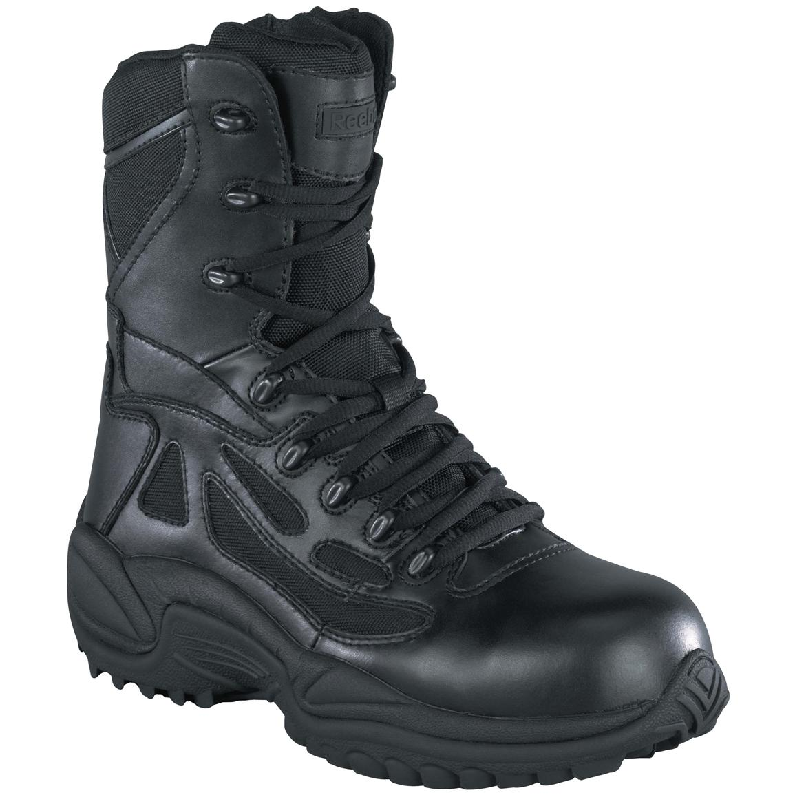 "Reebok Men's 8"" Waterproof Side Zip Stealth Tactical Boots, Black"