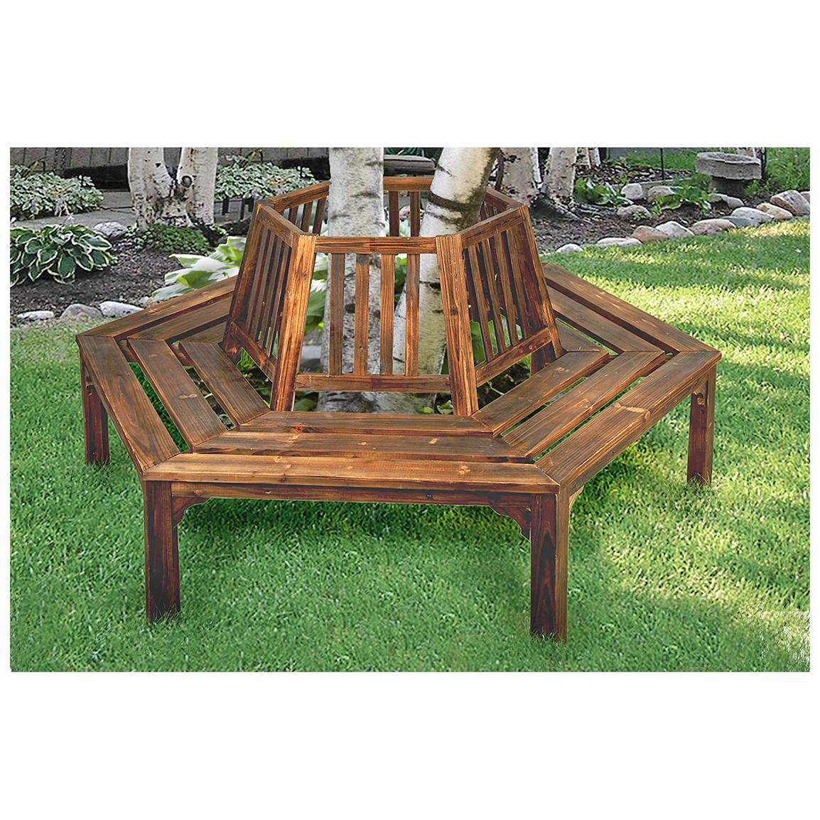 Wrap Bench wooden tree wrap bench with backrest - 581061, patio furniture at