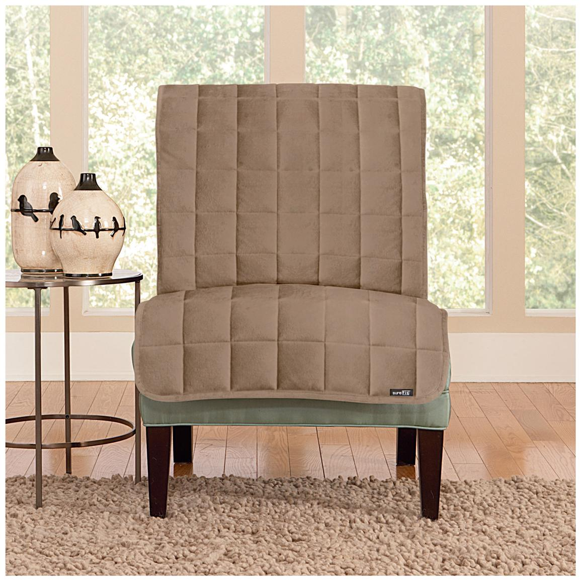 Sure Fit® Quilted Velvet Furniture Friend Armless Chair Slipcover, Sable