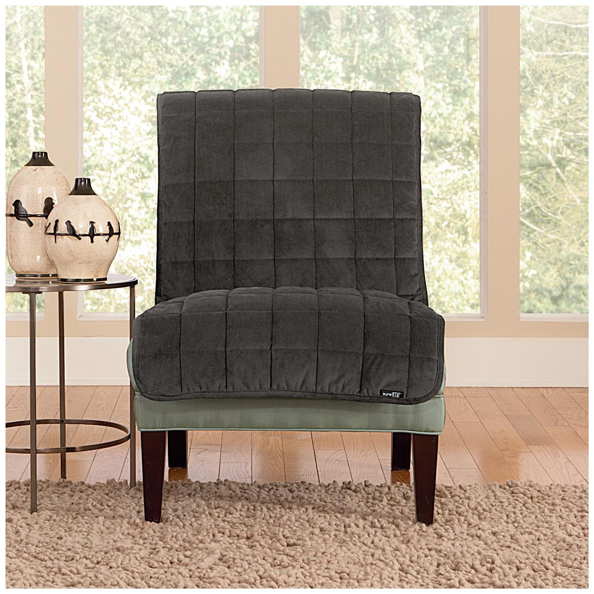 Sure Fit® Quilted Velvet Furniture Friend Armless Chair Slipcover, Gray
