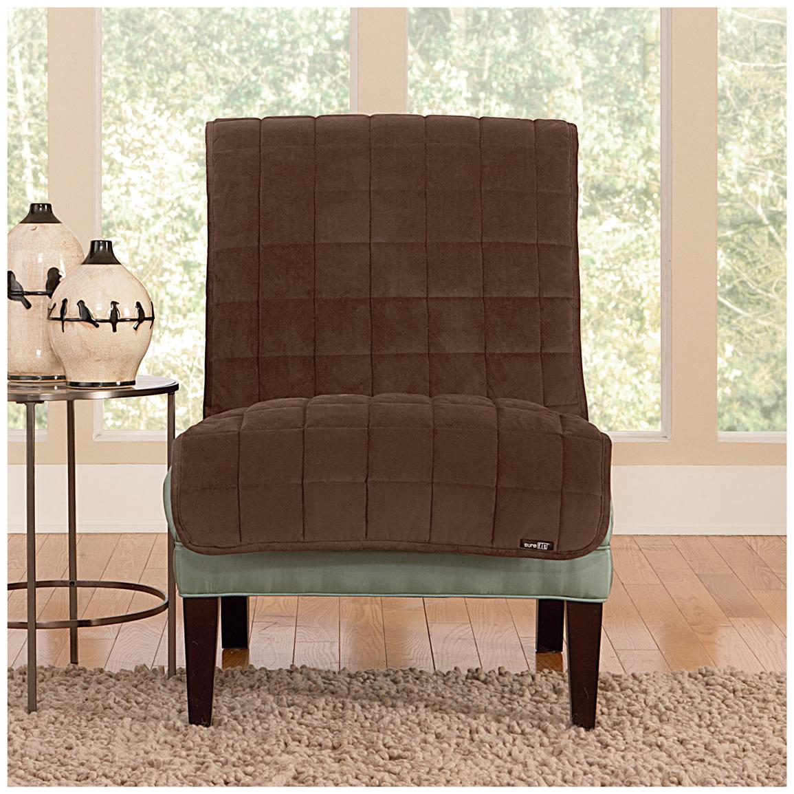 Sure Fit® Quilted Velvet Furniture Friend Armless Chair Slipcover, Chocolate