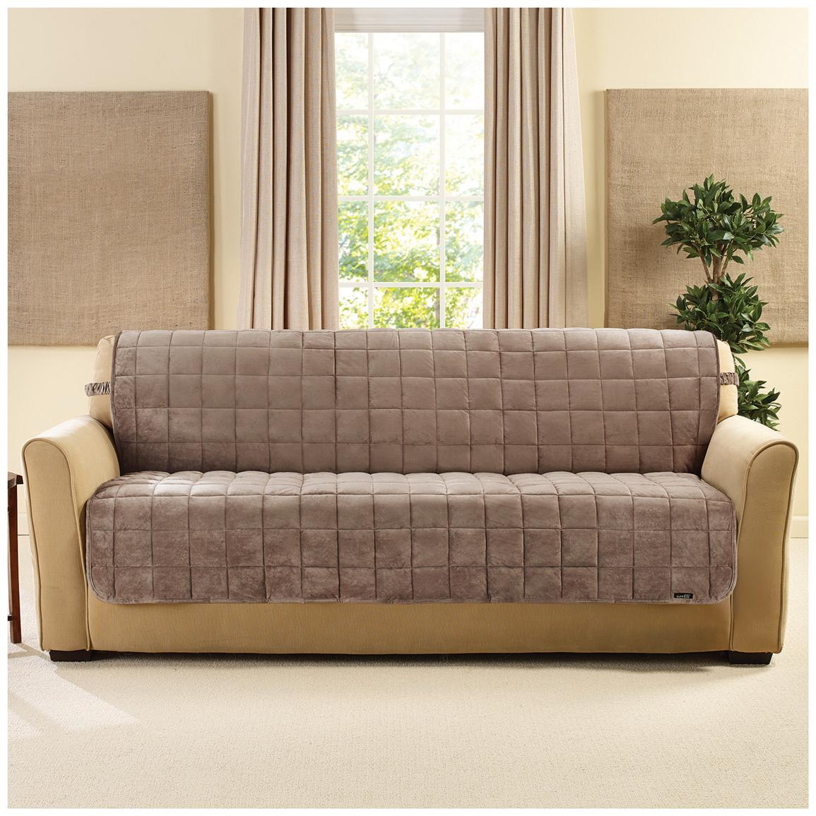 Sure Fit® Quilted Velvet Furniture Friend Armless Sofa Slipcover, Sable