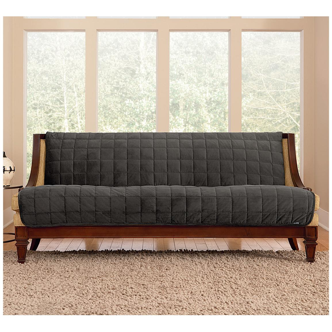 Sure Fit® Quilted Velvet Furniture Friend Armless Sofa Slipcover, Gray