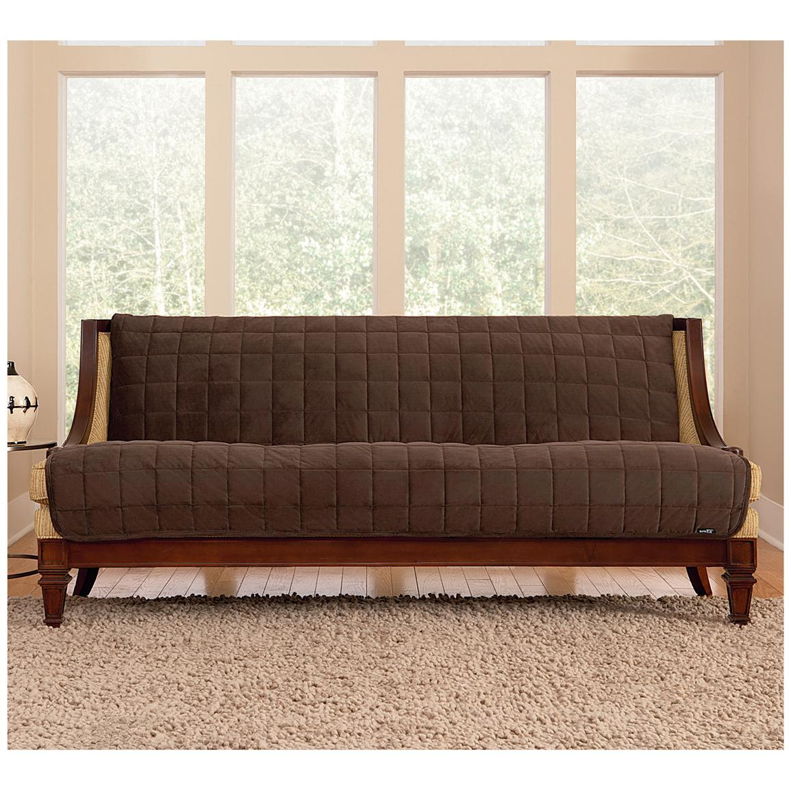 Sure Fit® Quilted Velvet Furniture Friend Armless Sofa Slipcover, Chocolate