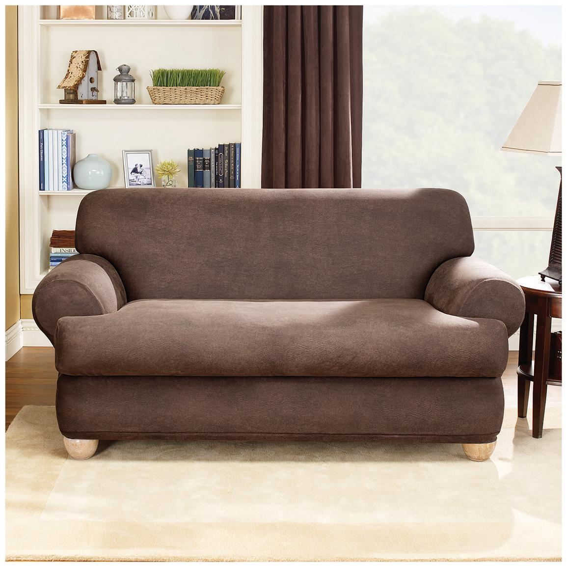 Sure Fit® Stretch Leather 2-Pc. T-Sofa Slipcover, Brown
