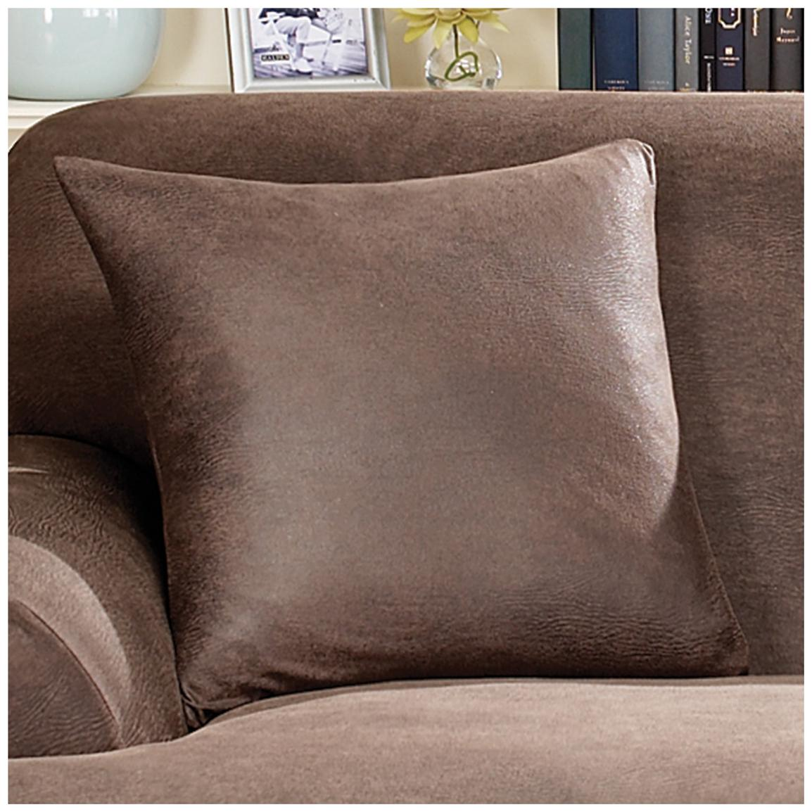 "Sure Fit® Stretch Leather 18"" Throw Pillow, Brown"