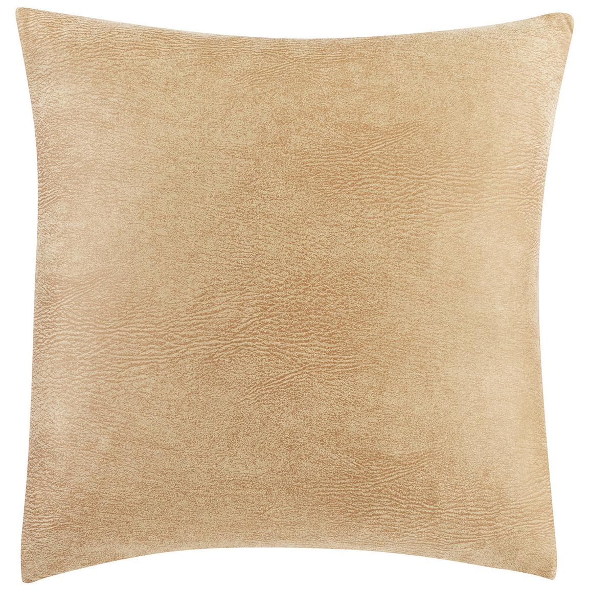 "Sure Fit® Stretch Leather 18"" Throw Pillow, Camel"