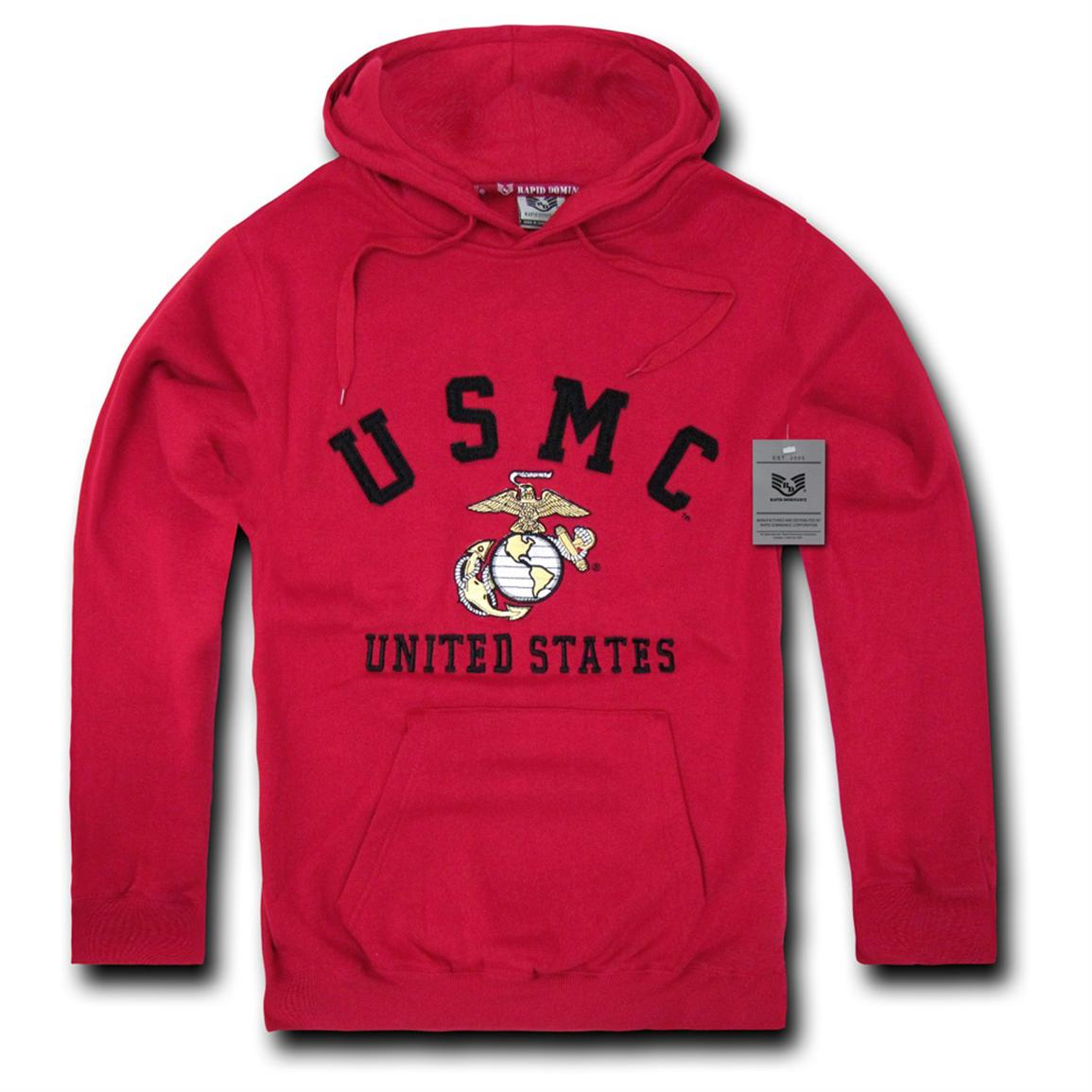 Rapid Dominance Military Fleece Pullover Hoodie, Marines Cardinal