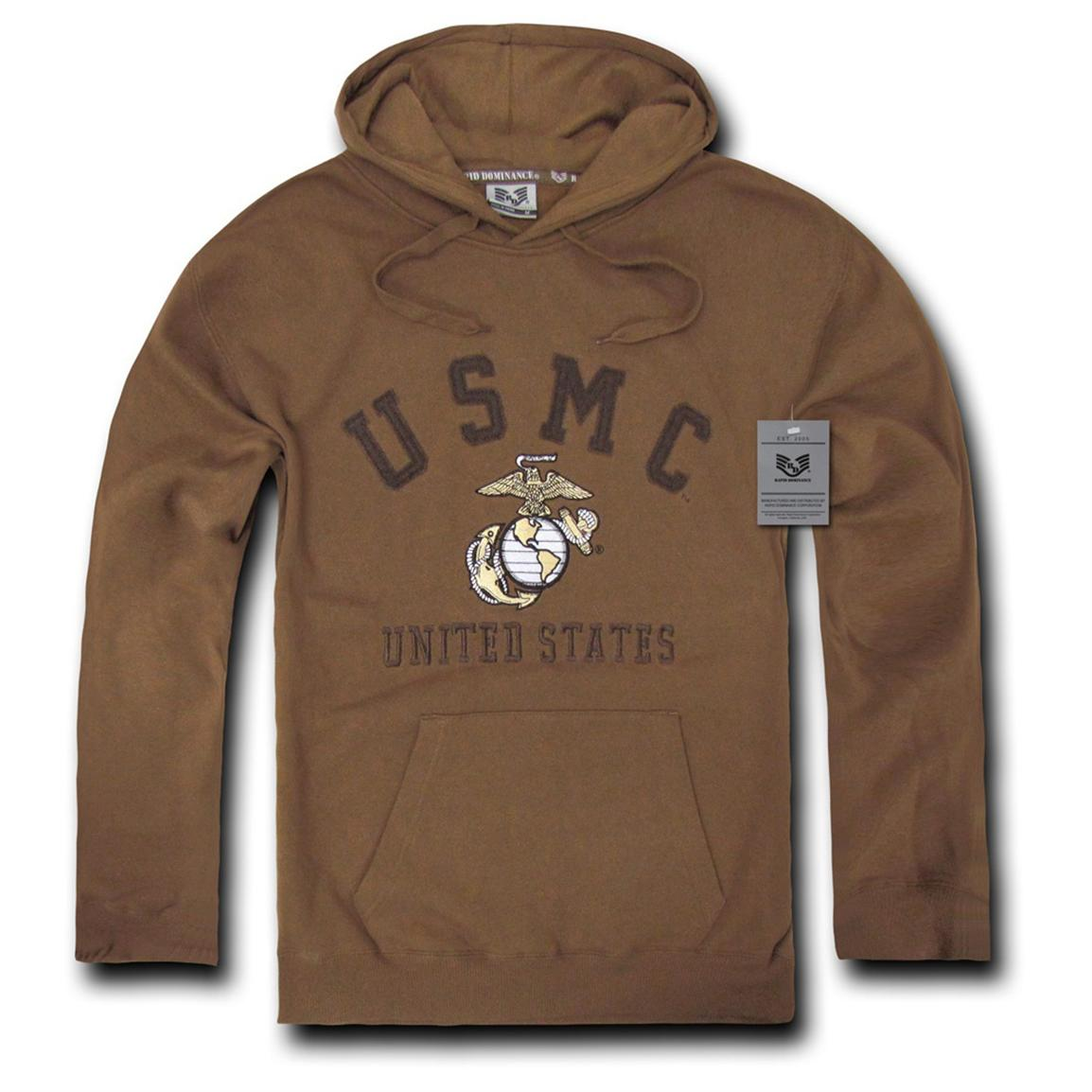 Rapid Dominance Military Fleece Pullover Hoodie, Marines Coyote