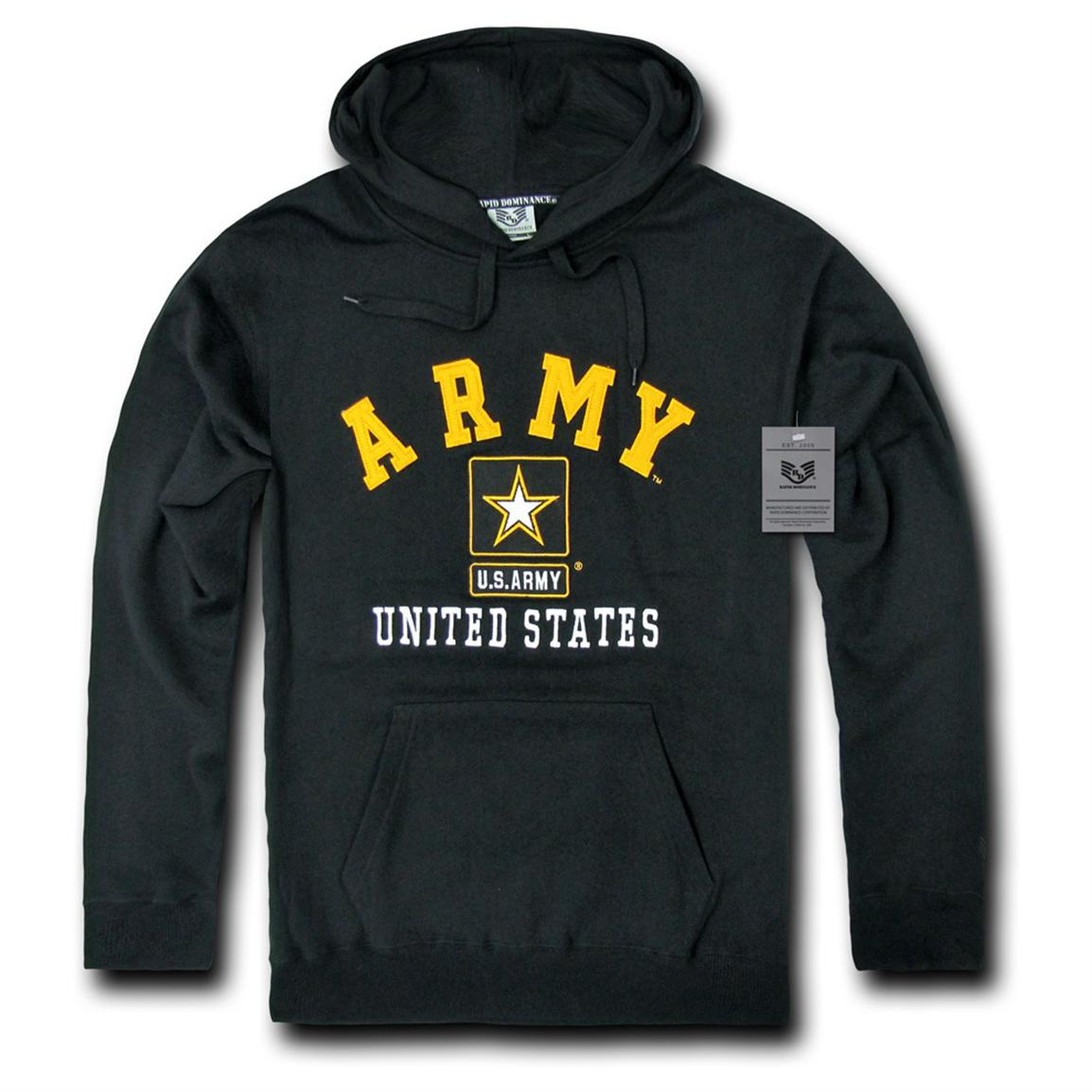 Rapid Dominance Military Fleece Pullover Hoodie, Army Black