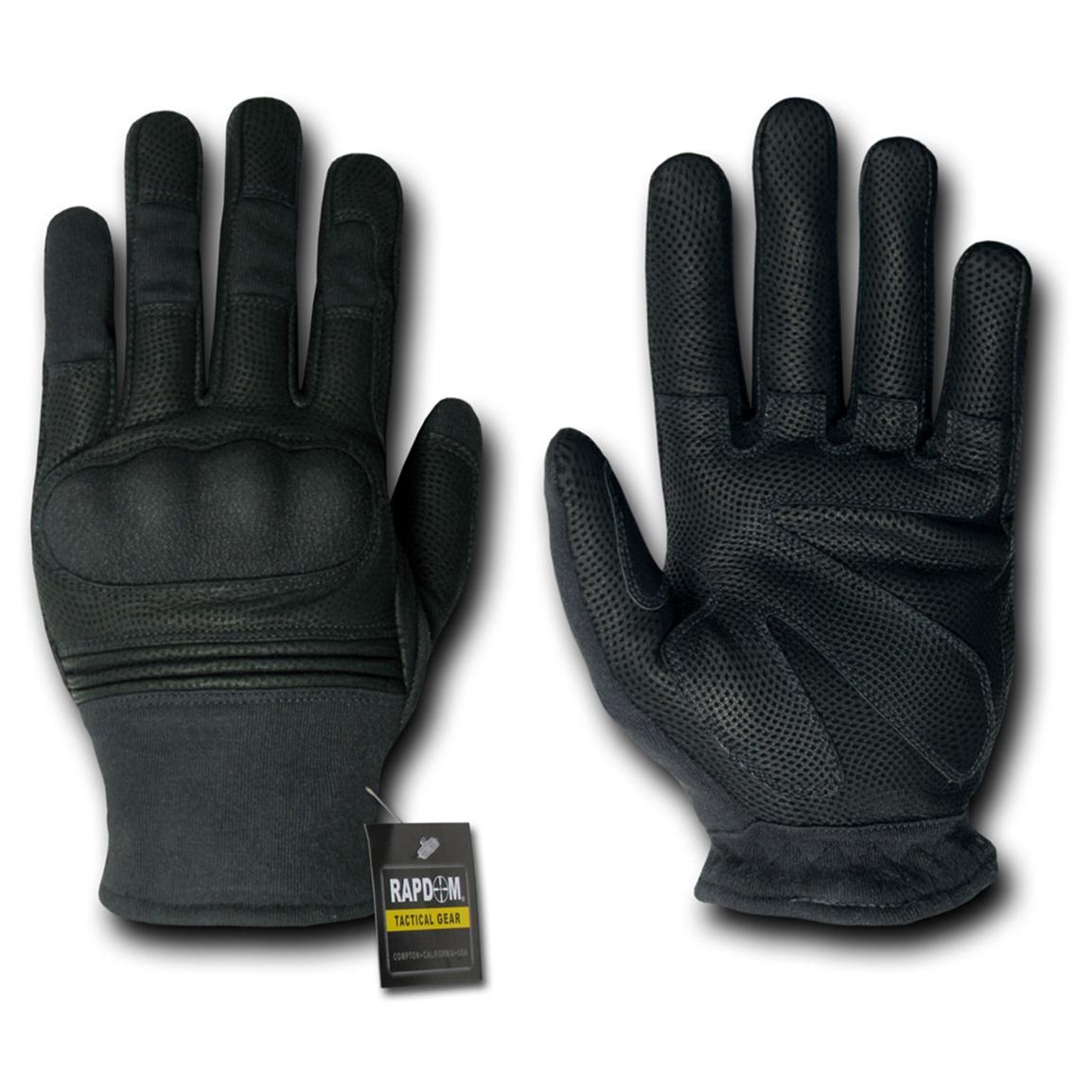 Thinsulate leather driving gloves - Rapid Dominance Hard Knuckle Slip On Gloves Black