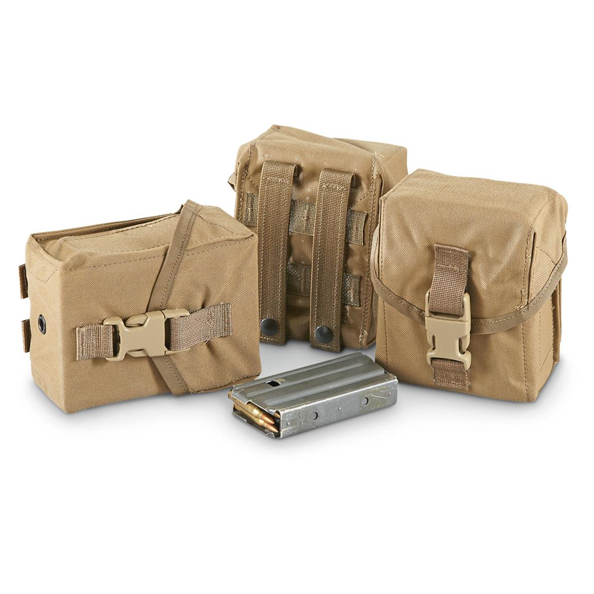 3 New U.S. Military Surplus 100-rd. Pouches • 60-cu. in. capacity