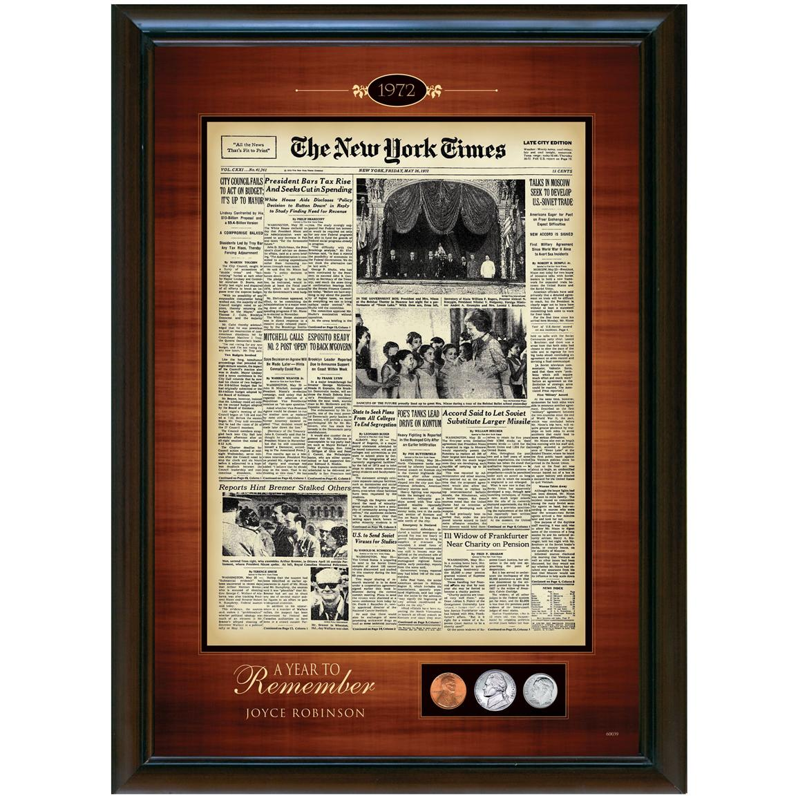 The New York Times Framed Front Page with U.S. Minted Coins from American Coin Treasures