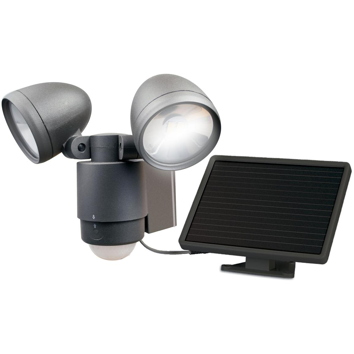 Maxsa Motion-Activated 495 Lumen Dual Head Solar LED Spotlight, Black