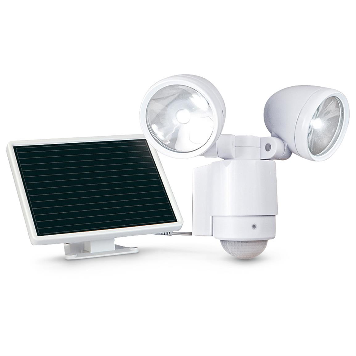 Maxsa Motion-Activated 495 Lumen Dual Head Solar LED Spotlight, White