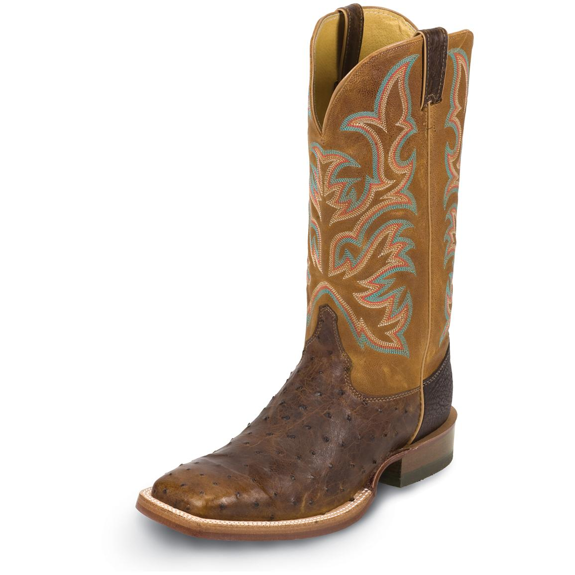 "Men's Justin® 13"" Full Quill Ostrich Boots, Brandy"