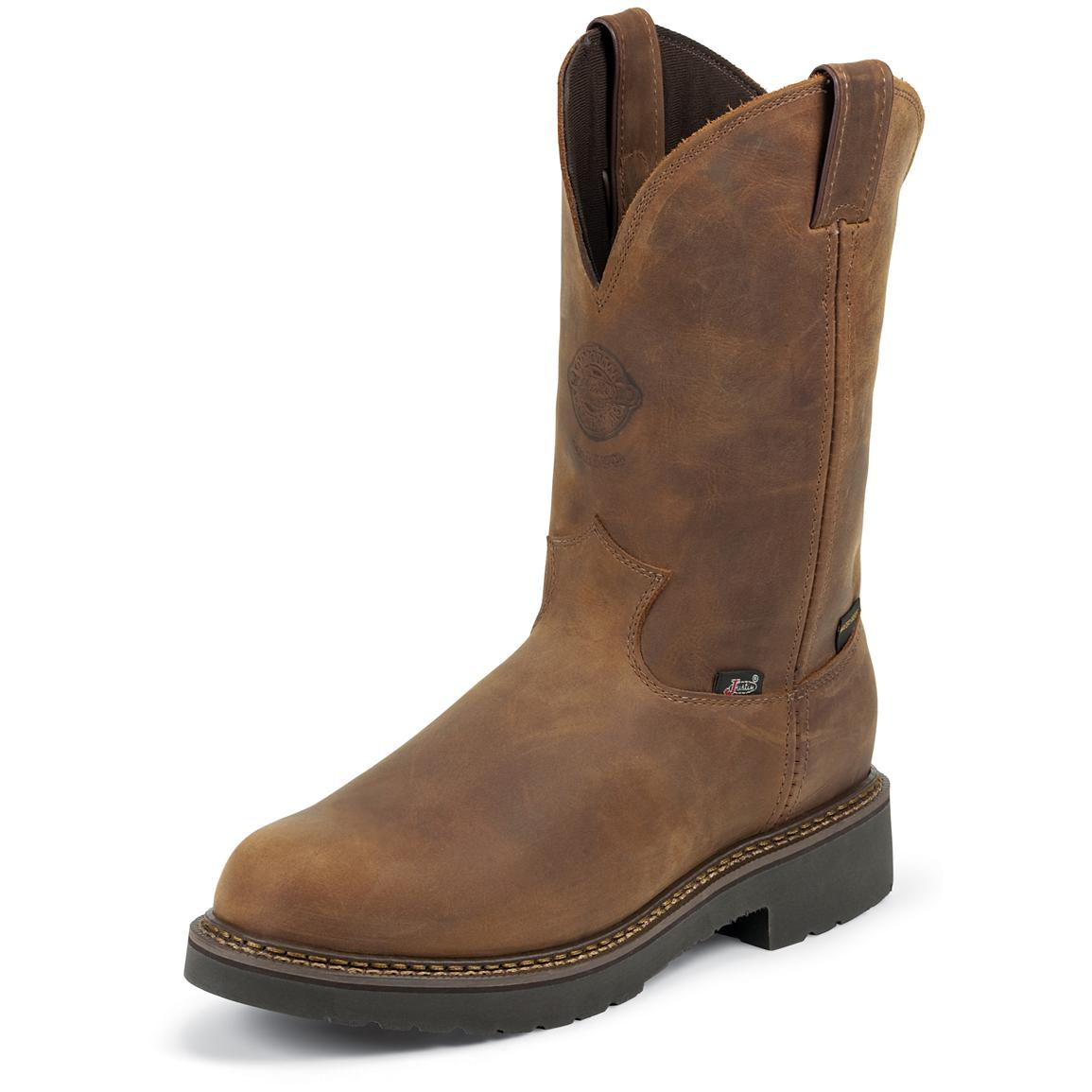 "Justin Original 11"" Waterproof J-Max® Pull-On Boots, Aged Bark"