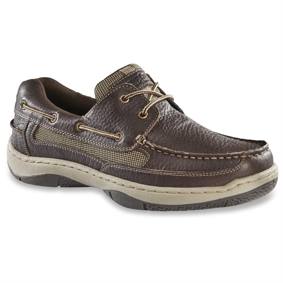 Guide Gear Men's Lace Up Boat Shoes, Dark Brown