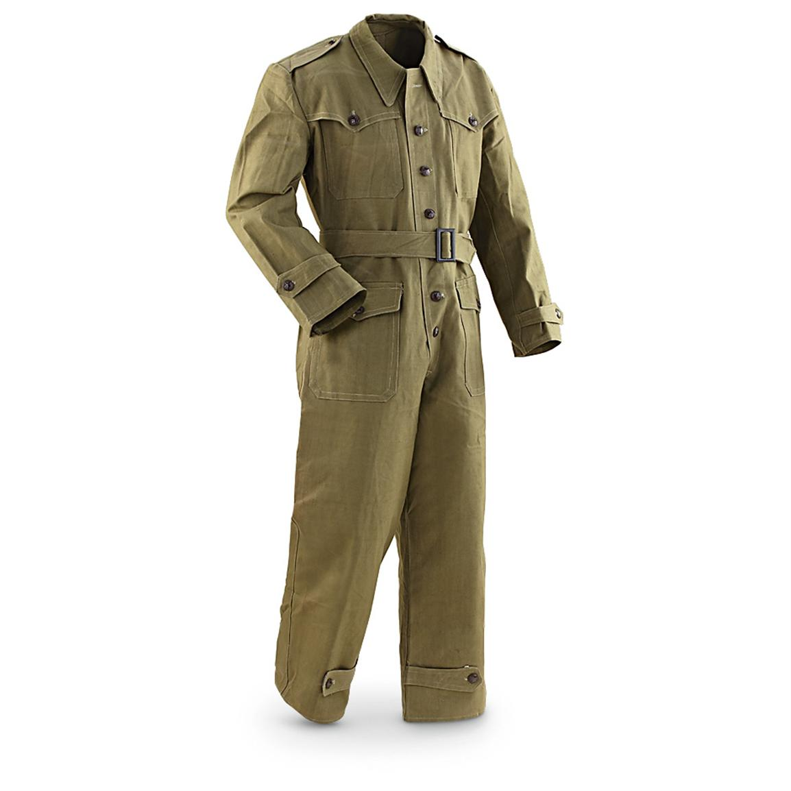 Used Bulgarian Military Surplus Heavy-duty Cotton Coveralls, Olive Drab