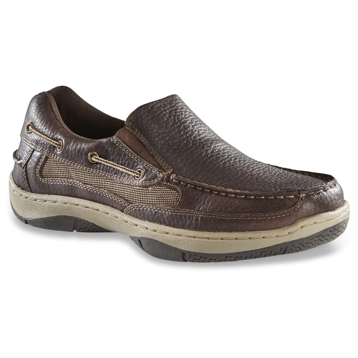 Guide Gear Men's Slip On Boat Shoes, Dark Brown